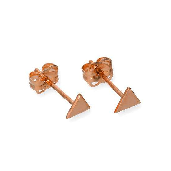 9ct Rose Gold Flat Triangle Stud Earrings