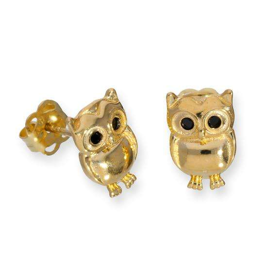 9ct Gold & Black CZ Crystal Owl Stud Earrings