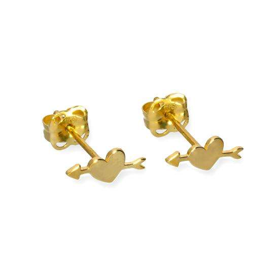 9ct Gold Pierced Heart Stud Earrings