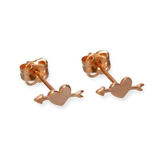 9ct Rose Gold Pierced Heart Stud Earrings
