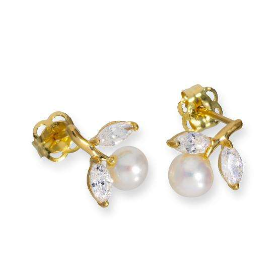 9ct Gold & Pearl Flower w Clear CZ Crystal Leaves Stud Earrings