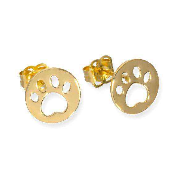9ct Gold Round Stud Earrings w Cut Out Animal Pawprint