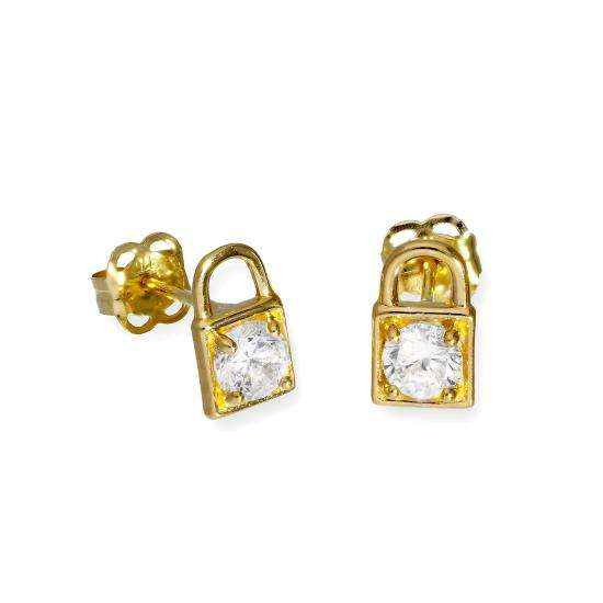 9ct Gold & Clear CZ Crystal Padlock Stud Earrings