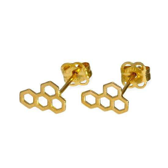 9ct Gold Honeycomb Stud Earrings