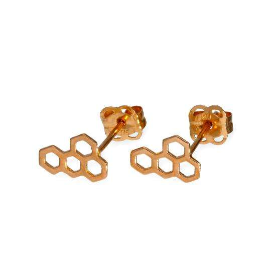 9ct Rose Gold Honeycomb Stud Earrings