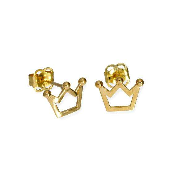 9ct Gold Royal Crown Outline Stud Earrings