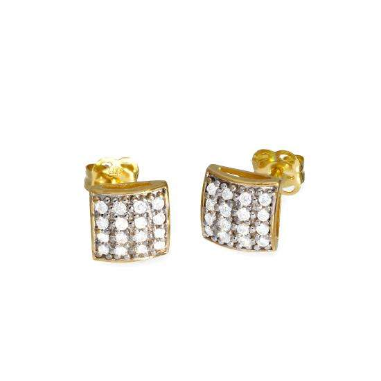 9ct Gold & Clear CZ Crystal Square Stud Earrings