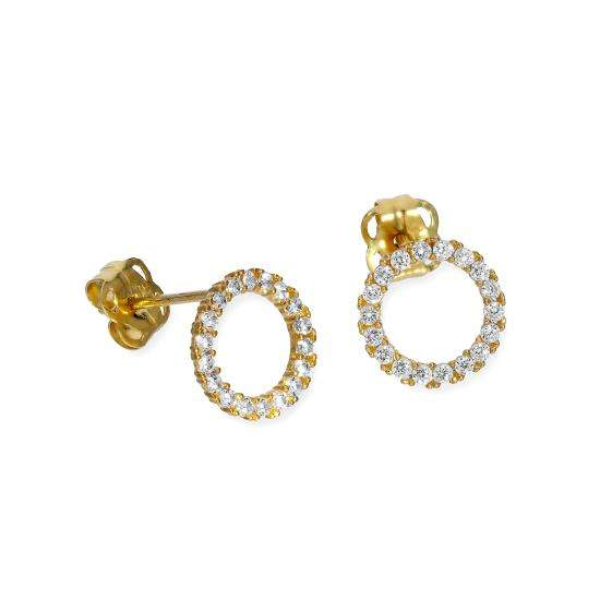 9ct Gold & Clear CZ Crystal Karma Circle Stud Earrings