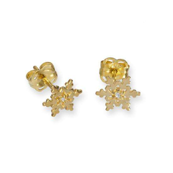 9ct Gold & Clear CZ Crystal Snowflake Stud Earrings