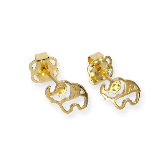 9ct Gold Cut Out Elephant Stud Earrings