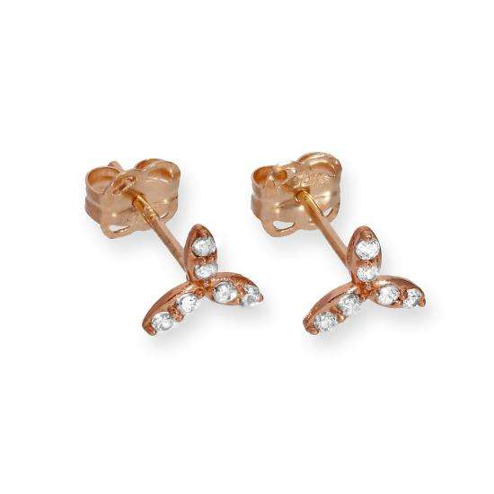 9ct Rose Gold & Clear CZ Crystal Leaves Stud Earrings