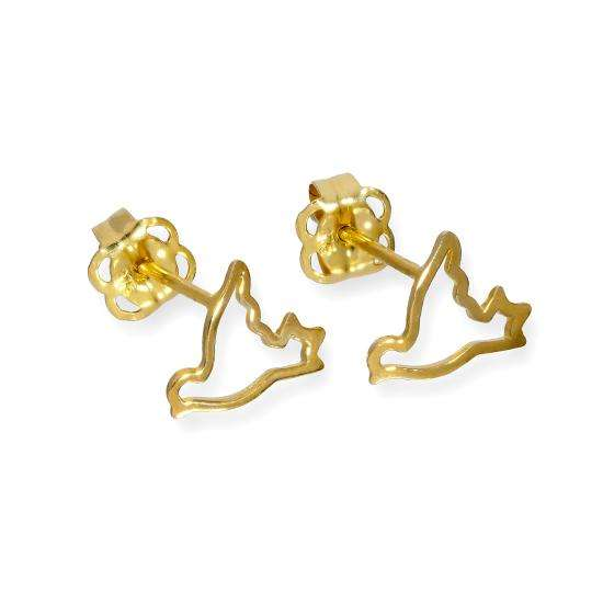 9ct Gold Flying Dove Outline Stud Earrings