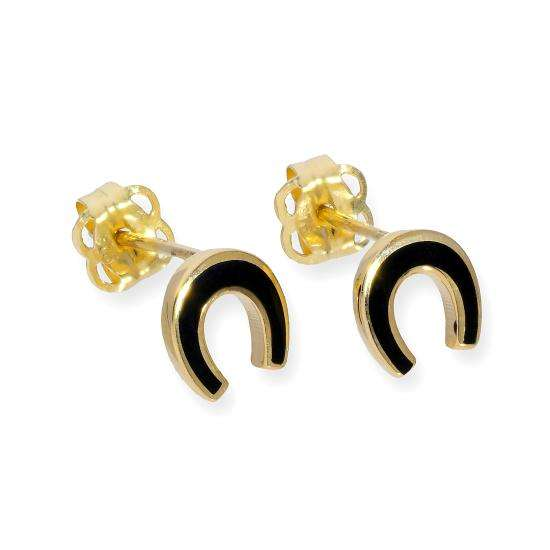 9ct Gold & Black Enamel Horseshoe Stud Earrings
