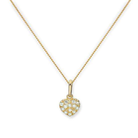 9ct Gold & Clear CZ Crystal Flat Heart Pendant Necklace 16 - 20 Inches