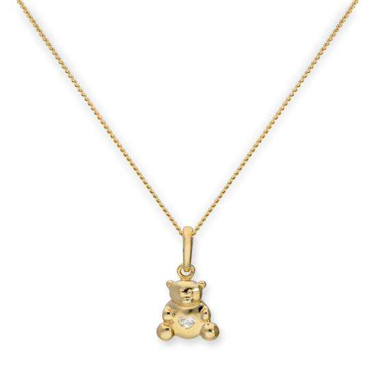 9ct Gold Teddy Bear w Clear CZ Crystal Heart Pendant Necklace 16 - 20 Inches