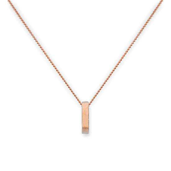 9ct Rose Gold Karma Circle Pendant Necklace 16 - 18 Inches