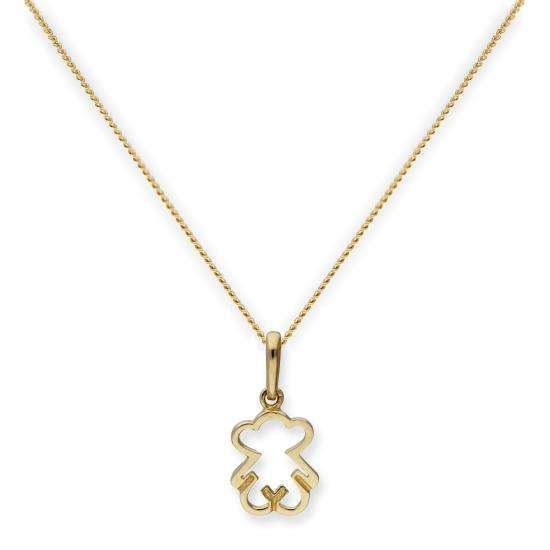 9ct Gold Teddy Bear Outline Pendant Necklace 16 - 20 Inches
