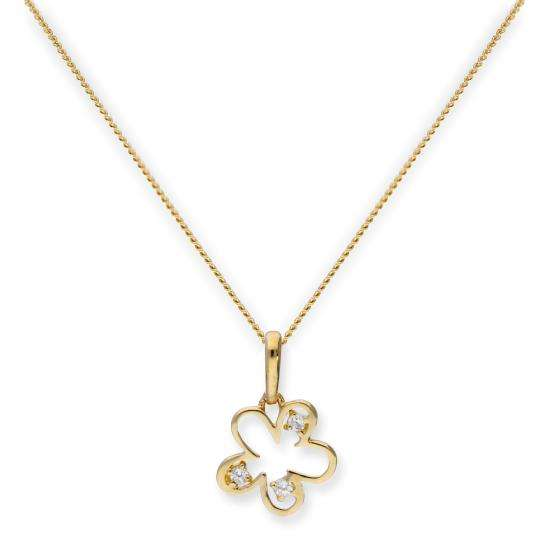 9ct Gold & Clear CZ Crystal Flower Outline Pendant Necklace 16 - 20 Inches