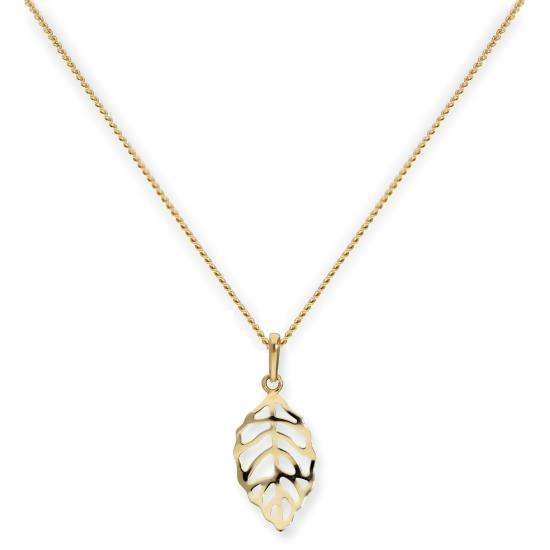 9ct Gold Cut Out Leaf Pendant Necklace 16 - 20 Inches