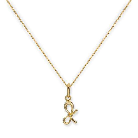 9ct Gold Ribbon Bow Pendant Necklace 16 - 20 Inches