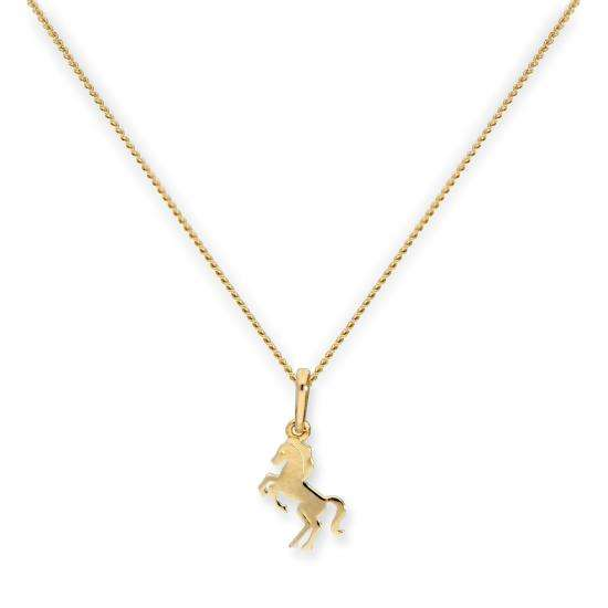 9ct Gold Prancing Horse Pendant Necklace 16 - 20 Inches