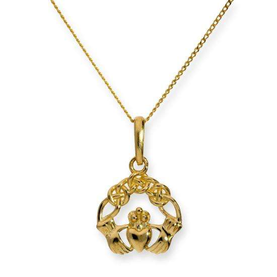 9ct Gold Claddagh Pendant Necklace 16 - 20 Inches