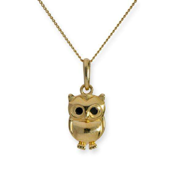 9ct Gold & Black CZ Crystal Owl Pendant Necklace 16 - 20 Inches