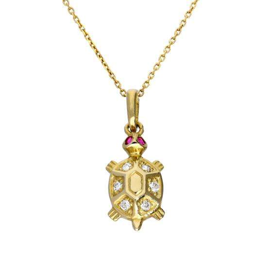 9ct Gold & CZ Crystal Turtle Pendant Necklace