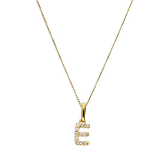 9ct Gold & Clear CZ Crystal Hanging Script Alphabet Letter E Pendant on 16 - 20 Inches Chain