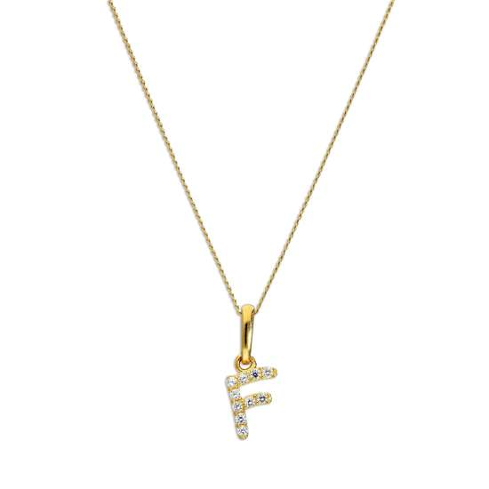 9ct Gold & Clear CZ Crystal Hanging Script Alphabet Letter F Pendant on 16 - 20 Inches Chain