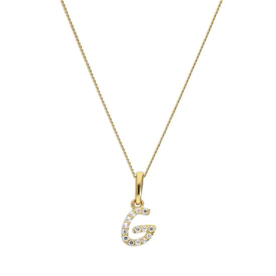9ct Gold & Clear CZ Crystal Hanging Script Alphabet Letter G Pendant on 16 - 20 Inches Chain