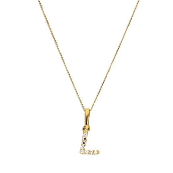 9ct Gold & Clear CZ Crystal Hanging Script Alphabet Letter L Pendant on 16 - 20 Inches Chain