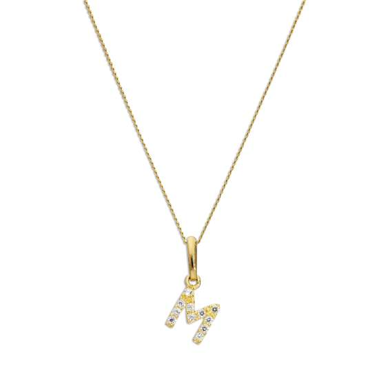 9ct Gold & Clear CZ Crystal Hanging Script Alphabet Letter M Pendant on 16 - 20 Inches Chain