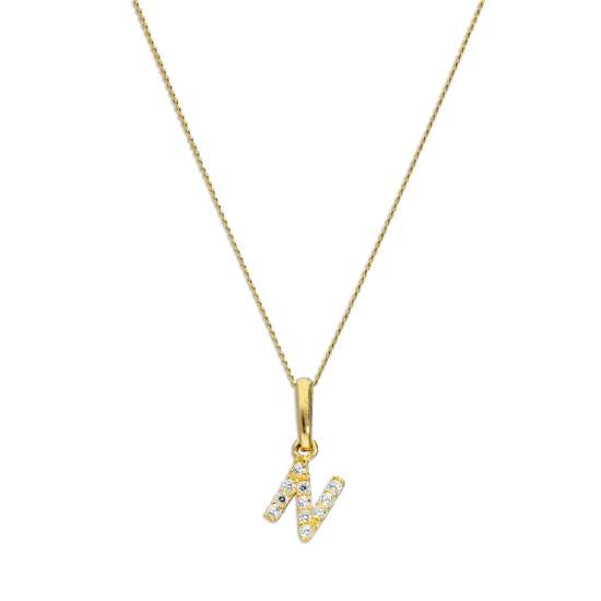9ct Gold & Clear CZ Crystal Hanging Script Alphabet Letter N Pendant on 16 - 20 Inches Chain