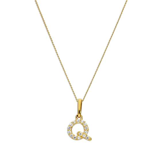 9ct Gold & Clear CZ Crystal Hanging Script Alphabet Letter Q Pendant on 16 - 20 Inches Chain