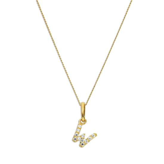 9ct Gold & Clear CZ Crystal Hanging Script Alphabet Letter W Pendant on 16 - 20 Inches Chain