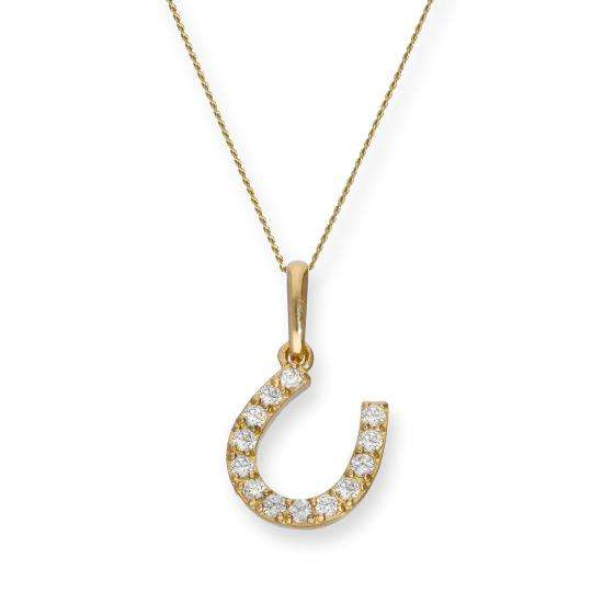 9ct Gold & Clear CZ Crystal Horseshoe Pendant Necklace