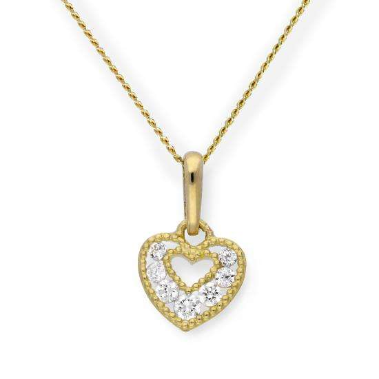 9ct Gold & Clear CZ Crystal Double Cut Out Heart Pendant Necklace