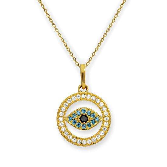 9ct Gold & CZ Crystal Evil Eye Circle Pendant Necklace