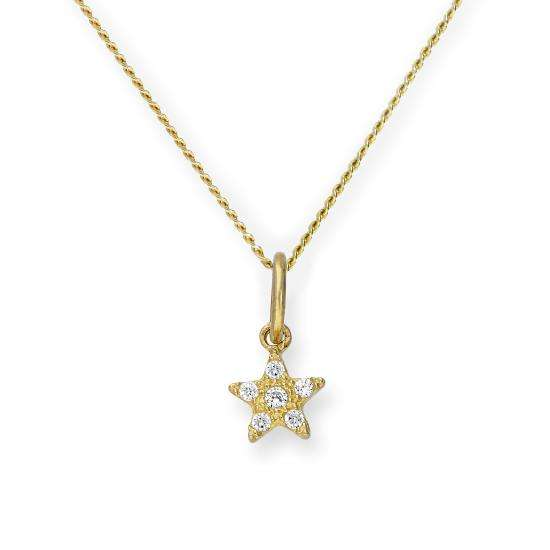 9ct Gold & Clear CZ Crystal Star Pendant Necklace