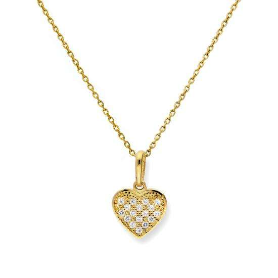 9ct Gold & Clear CZ Crystal Heart Pendant Necklace