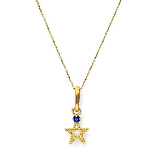 9ct Gold & Sapphire CZ Crystal Pentagram Star Pendant Necklace