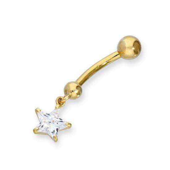 9ct Gold & Hanging Clear CZ Crystal Star Ball End Belly Bar