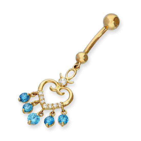 9ct Gold & CZ Crystal Hanging Pretty Heart Ball End Belly Bar