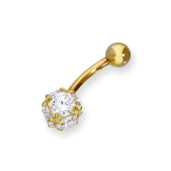 9ct Gold & Clear CZ Crystal Sphere Ball End Belly Bar