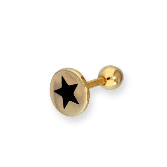 9ct Gold & Black Enamel Star Labret