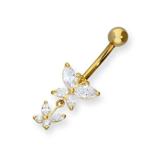 9ct Gold & Double Hanging Clear CZ Crystal Butterfly Ball End Belly Bar