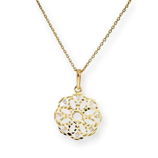 9ct Gold & Clear CZ Crystal Flower Circle Pendant Necklace 16 - 20 Inches