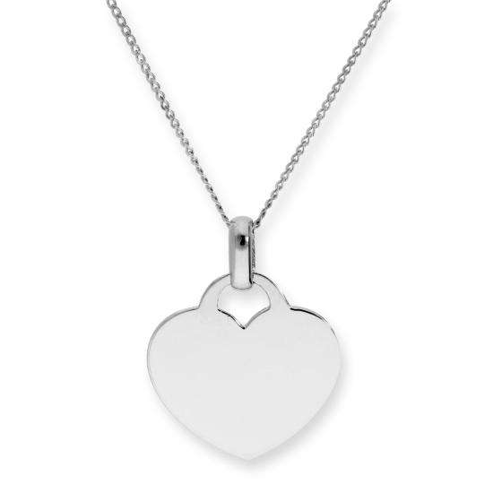 9ct White Gold Engravable Heart Pendant Necklace 16 - 18 Inches