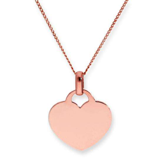 9ct Rose Gold Engravable Heart Pendant Necklace 16 - 20 Inches
